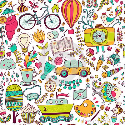 Free Vector Seamless Pattern, Childish Doodles. Pattern ,set Of Diffe Royalty Free Stock Photo - 49619365