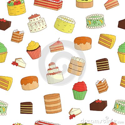 Vector seamless pattern of colored cakes Vector Illustration