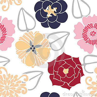 Vector Seamless Pattern of Colored Flowers