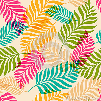 Vector seamless pattern of colorful palm tree leaves. Nature org Vector Illustration