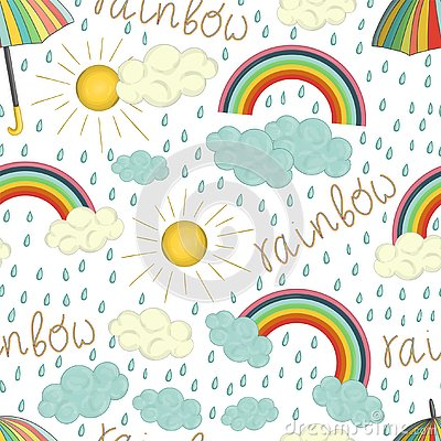 Vector seamless pattern of colorful rainbow Vector Illustration