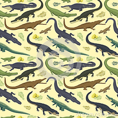 Vector seamless pattern with crocodile. Vector Illustration