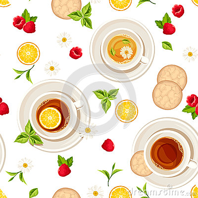 Vector seamless pattern with cups of tea, fruits and leaves. Vector Illustration