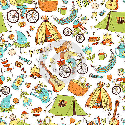 Vector seamless pattern with cute doodle family. Equipment for c Vector Illustration