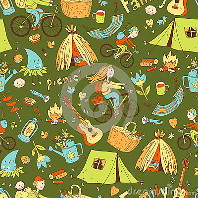 Vector seamless pattern with cute doodle family. Equipment Vector Illustration