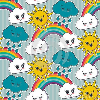 Vector seamless pattern with cute smiling sun, rainbow, cloud faces Vector Illustration