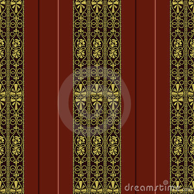 vector Seamless pattern of gold embroidery