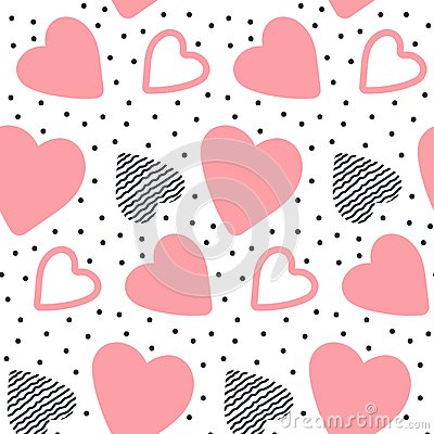Vector seamless pattern with hand drawn hearts. Vector Illustration