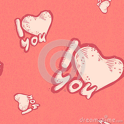 The vector seamless pattern of the heart as a declaration love on pastel pink grunge background. Romantic confession Vector Illustration