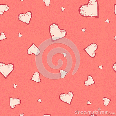 The vector seamless pattern of the heart on pastel pink grunge background. Vector Illustration