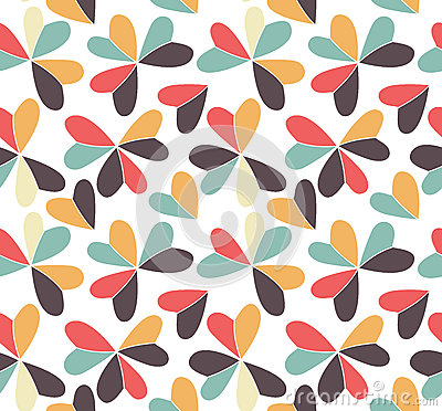 Vector seamless pattern with hearts placed in clover shapes. Flat shamrock imagined colors background. Simple repeating Vector Illustration