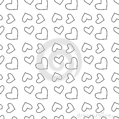 Vector seamless pattern with hearts. Repeating geometric tiles with stylized monochrome background Stock Photo