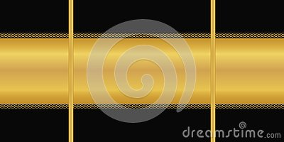 Vector seamless pattern. Horizontal golden stripe, Art deco ornament on black background. Wallpaper, wrapping paper, textile print Vector Illustration