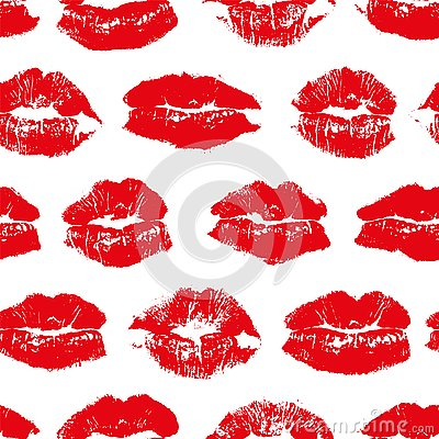 Vector seamless pattern with imprint kiss red lips. Vector Illustration