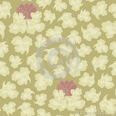 Vector seamless pattern of light-colored leaves and a pink flower on a sepia background with a floral ornament. Vector Illustration