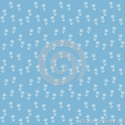 Free Vector Seamless Pattern, Little Flowers On Blue Royalty Free Stock Photography - 28455287