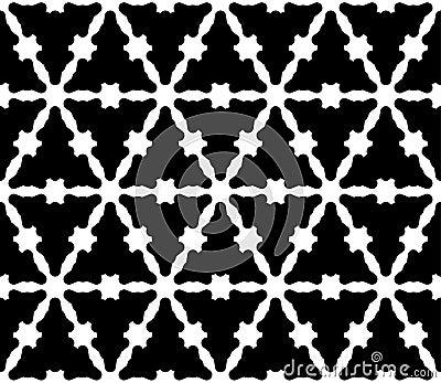 Vector seamless pattern, monochrome smooth triangular lattice Vector Illustration