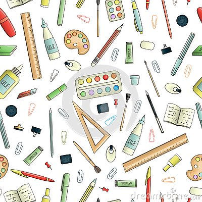 Free Vector Seamless Pattern Of Colored Stationery Stock Image - 145300301