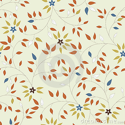 Free Vector Seamless Pattern Of Flowers And Leaves Stock Photos - 12304513