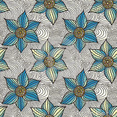 Free Vector Seamless Pattern Of Hand-drawn Flowers Royalty Free Stock Image - 59554956