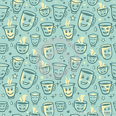 Vector seamless pattern with tea cups