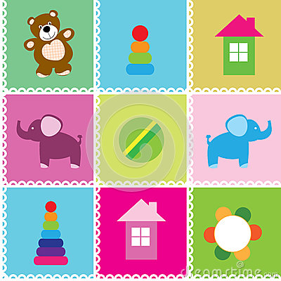 Vector seamless pattern toys