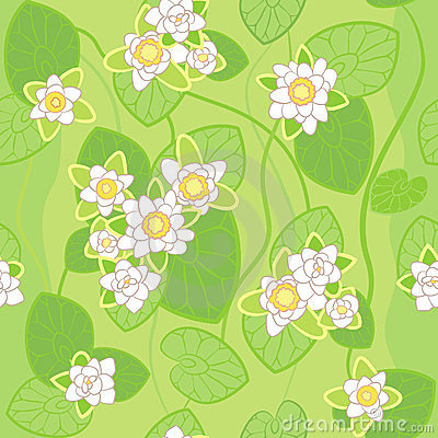 vector Seamless pattern of white lotus
