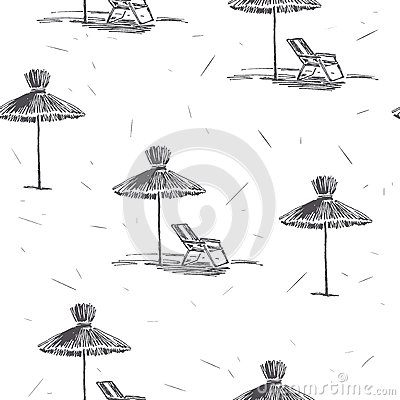 Free Vector Seamless Pattern With Beach Umbrellas. Vintage Hand Drawn Royalty Free Stock Images - 92318789