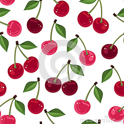 Free Vector Seamless Pattern With Cherry. Royalty Free Stock Images - 30644459