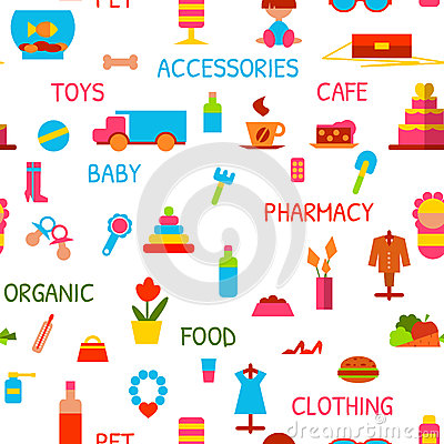 Free Vector Seamless Pattern With Consumer Goods Stock Photos - 46860803