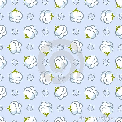 Free Vector Seamless Pattern With Cotton Plant On Blue Background. Stock Image - 138089021
