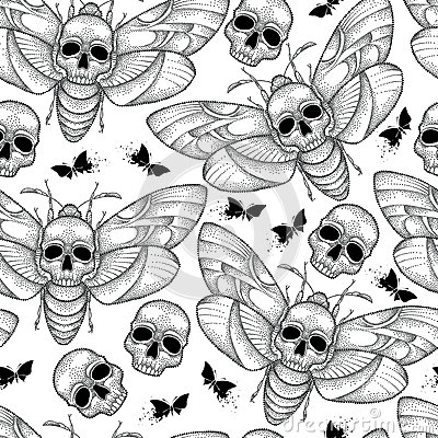 Free Vector Seamless Pattern With Dotted Black Death`s Head Hawk Moth Or Acherontia Atropos On The White Background. Royalty Free Stock Photos - 83248058