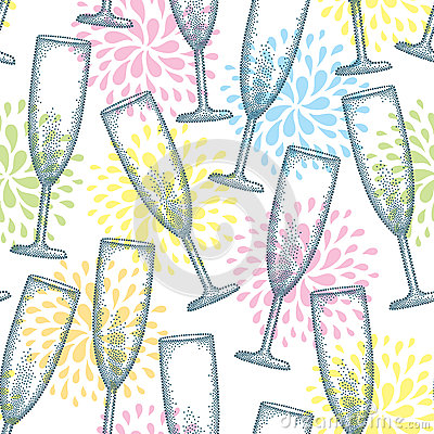 Free Vector Seamless Pattern With Dotted Champagne Glass Or Flute On The White Background With Stylized Fireworks. Royalty Free Stock Image - 82065326