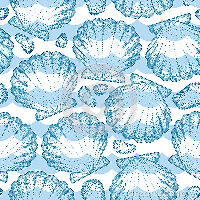 Free Vector Seamless Pattern With Dotted Sea Shell Or Scallop In Blue, Pebbles And Waves. Marine And Aquatic Theme. Stock Photography - 76519022