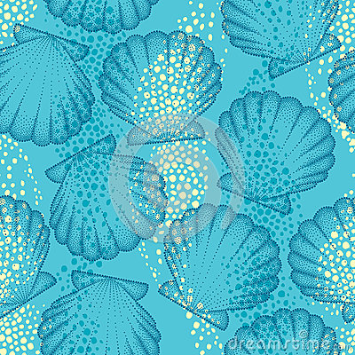 Free Vector Seamless Pattern With Dotted Sea Shell Or Scallop On The Blue Background. Maritime. Marine And Aquatic Theme. Royalty Free Stock Photos - 76519498