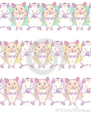 Free Vector Seamless Pattern With Geometric Hamsters On A Color Bars Stock Image - 132682901