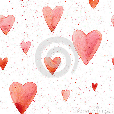Free Vector Seamless Pattern With Hand Painted Watercolor Hearts. Royalty Free Stock Images - 82399129
