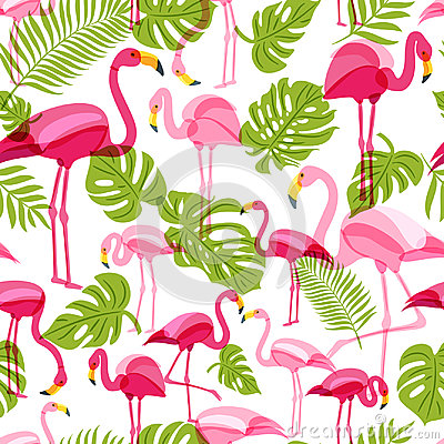 Free Vector Seamless Pattern With Pink Flamingo And Green Palm Tree Leaves. Summer Tropical Background. Stock Photography - 95170072