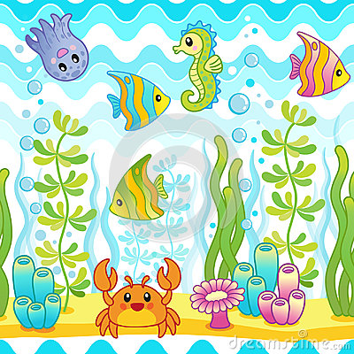 Free Vector Seamless Pattern With Underwater Design And Funny Sea Creatures. Stock Photos - 96891663