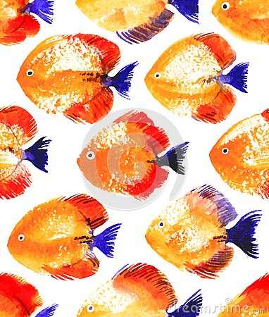 Free Vector Seamless Pattern With Watercolor Discus Fish Royalty Free Stock Photography - 49450197