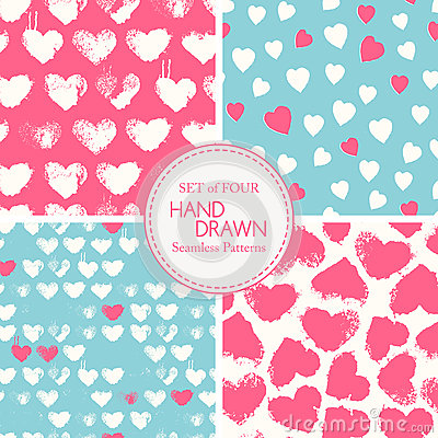Free Vector Seamless Patterns With Grunge Colorful Hearts Stock Images - 64908364