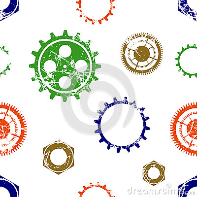 Free Vector Seamless Patterns With Mechanism Of Watch. Creative Geometric Colorful Grunge Backgrounds With Gear Wheel. Royalty Free Stock Images - 76001859