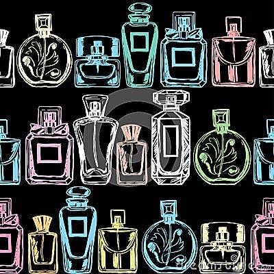 Free Vector Seamless Perfume Pattern. Hand Drawn Illustration. Royalty Free Stock Photo - 76458985