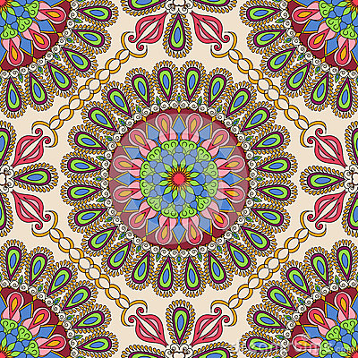 Vector seamless texture. Beautiful mandala pattern for design and fashion with decorative elements in ethnic indian style Vector Illustration