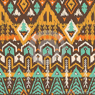 Free Vector Seamless Tribal Pattern In Scribble Style Royalty Free Stock Photo - 56144425