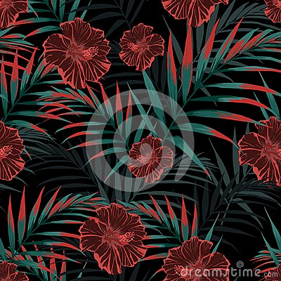 Free Vector Seamless Tropical Pattern, Vivid Tropic Foliage, With Palm Leaves, Tropical Hibiscus Flower In Bloom. Stock Images - 121960624