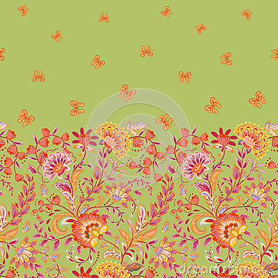 Free Vector Seamless Vertical Pattern With Decorative Pink Brown Strawberry And Butterfly Ornament On White Background, Hand Stock Photography - 90380012