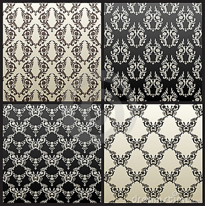 Vector seamless vintage background black wallpaper