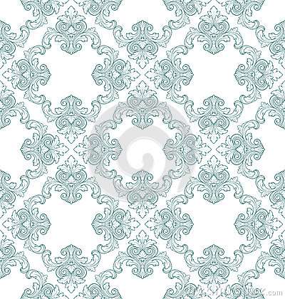 Free Vector Seamless Vintage Damask Pattern Royalty Free Stock Photo - 25537025