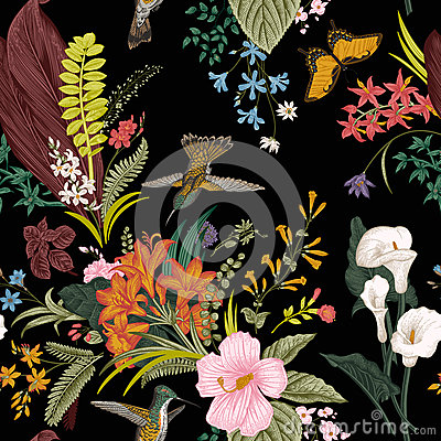Free Vector Seamless Vintage Floral Pattern. Exotic Flowers And Birds. Royalty Free Stock Image - 78261586